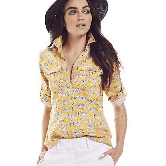 22624877 Yellow Zebra print 1/2 button shown shirt blouse. M_5c06b818aa5719909f073f47
